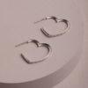 Nell Heart Earrings-Silver