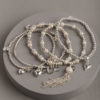 Hearts and pearls stack-silver