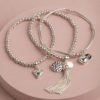 Hearts and Tassels mini stack-silver