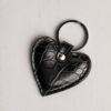 Heart Keyring - Black Croc