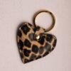 Heart Keyring - Leopard Print