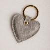 Heart Keyring - Light Grey Croc