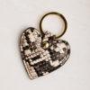 Heart Keyring - Snake Print
